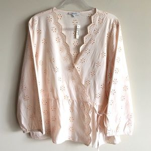 MADEWELL Scalloped Eyelet Wrap Tie Top Light Blush